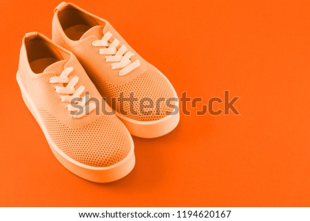 Bright orange sneakers on a bright orange background where the place for the inscription is left. #1194620167