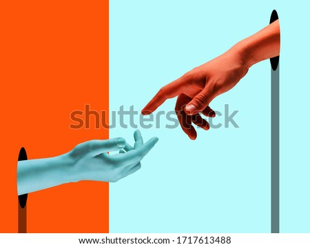 Bright painted hands touching by fingers. Contemporary art collage. Modern design work in vibrant trendy colors. Tender human hands. Stylish and fashionable composition, youth culture. Copyspace.