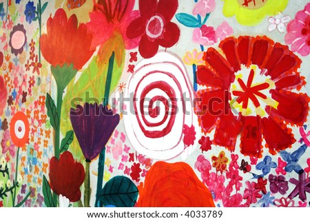 Bright painting with flowers and swirls