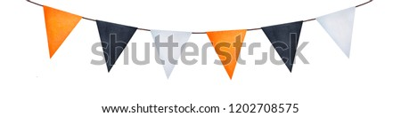Bright party garland with different painted flags. Can be used for some text letters writing. Hand drawn watercolour graphic illustration on white background, cutout element for design and decoration. Foto stock ©