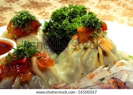 Bright photo of ravioli - stock photo