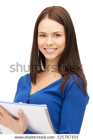 bright picture of attractive woman with notepad