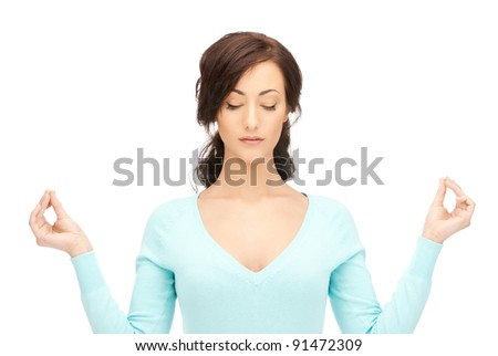 bright picture of beautiful woman in meditation
