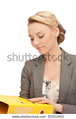 bright picture of beautiful woman with folders - stock photo