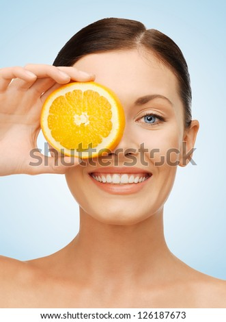 bright picture of beautiful woman with orange slice