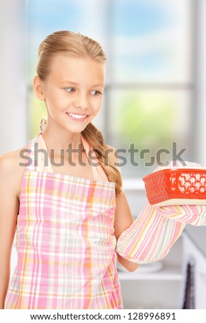 bright picture of cooking girl over white