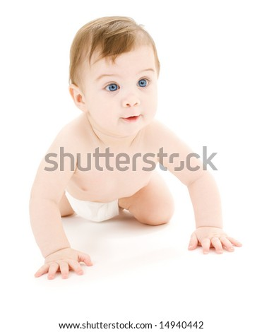 bright picture of crawling baby boy in diaper