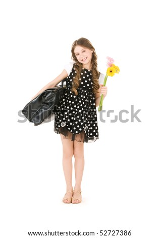 bright picture of elementary school student girl