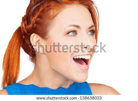bright picture of excited face of woman