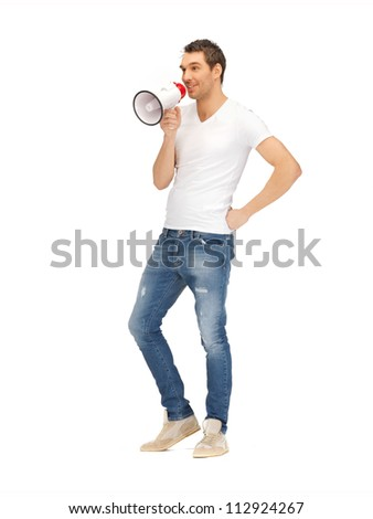 bright picture of handsome man with megaphone. .