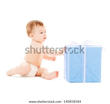 bright picture of happy child with gift box.