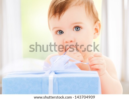 bright picture of happy child with gift box