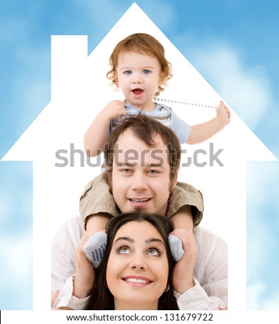 bright picture of happy family over house symbol and blue sky