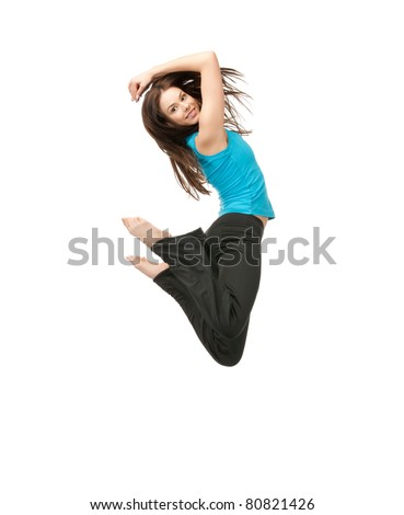 bright picture of happy jumping sporty girl