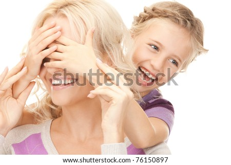 bright picture of happy mother and little girl.