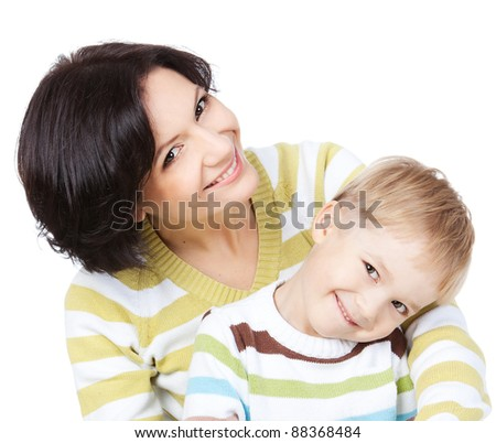 Bright picture of happy mother and little son over white