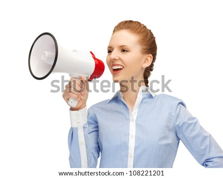 bright picture of happy woman with megaphone