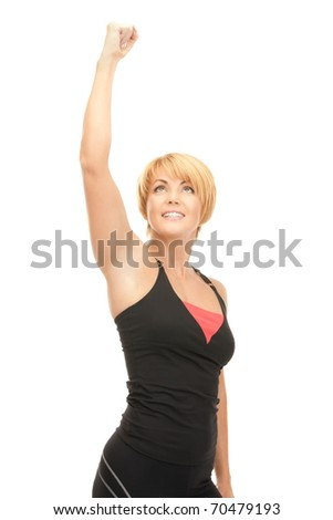 bright picture of lovely fit woman with expression of tryumph over white