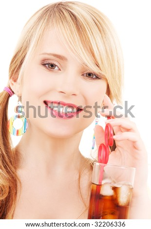 bright picture of lovely girl with glass of drink