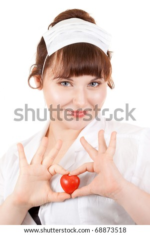 Bright picture of lovely nurse with red heart symbol of donation