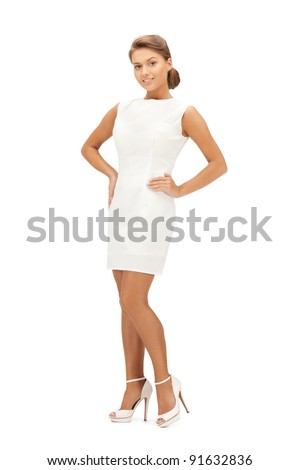 bright picture of lovely woman in elegant dress