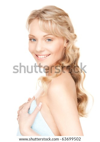 bright picture of lovely woman in towel over white