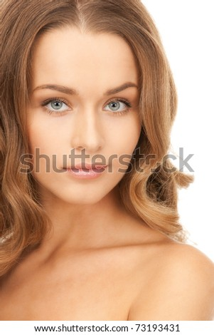 bright picture of lovely woman over white