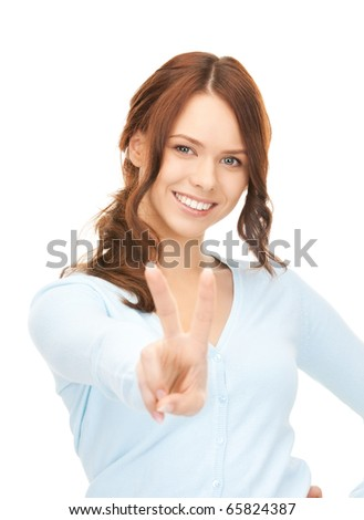 bright picture of lovely woman showing victory sign