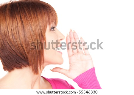 bright picture of lovely woman whispering gossip