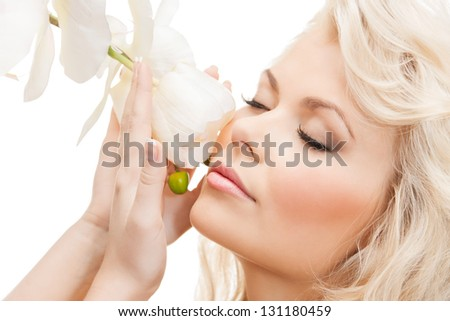 bright picture of lovely woman with orchid flower