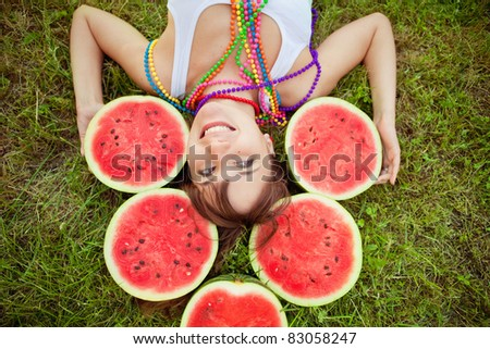 bright picture of lovely  woman with watermelon
