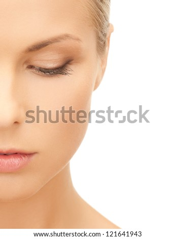bright picture of pensive beautiful woman