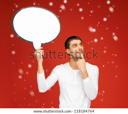 bright picture of pensive man with blank text bubble.