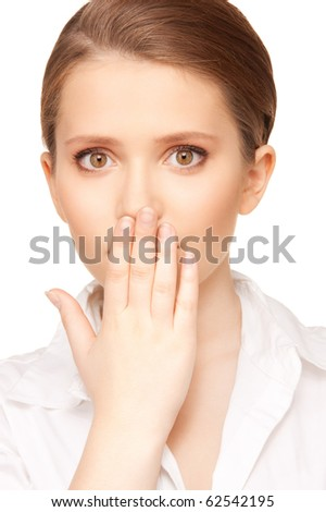 bright picture of pretty woman with hand over mouth - stock photo
