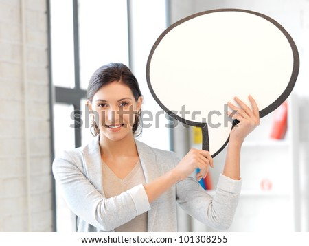 bright picture of smiling businesswoman with blank text bubble