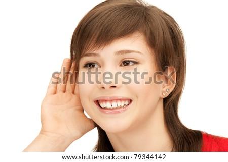 bright picture of teenage girl listening gossip - stock photo