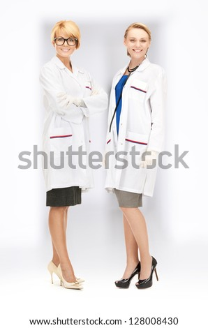 bright picture of two attractive female doctors