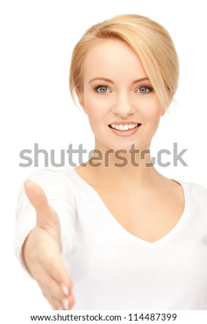 bright picture of woman with an open hand ready for handshake