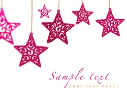 bright pink Christmas ornament stars with lace pattern isolated on white