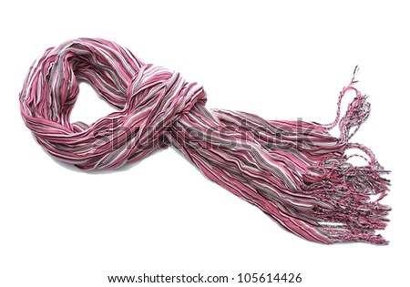 bright pink female scarf isolated on white