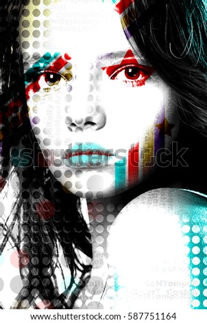 Bright poster beautiful girl in pop-art style.\r