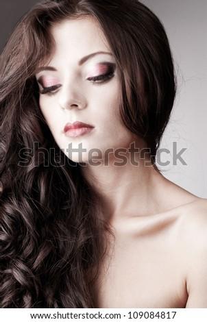 Bright purple eye evening make-up, beautiful woman portrait, Eyeshadows and lip stick