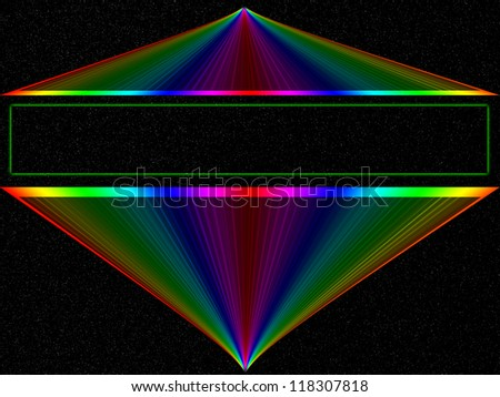 Bright rainbow abstract on black background - space, technology with copyspace