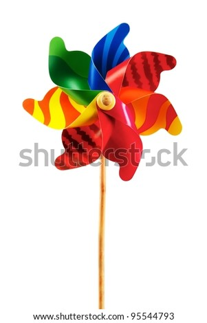 Bright rainbow-colored toy pinwheel with natural wood handle, vertical layout and isolated on white background with space for copy.