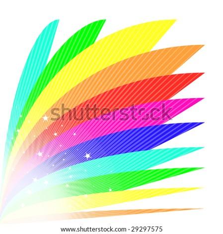 Bright rainbow fan illustration in vibrant colors for Bright vibrant colors