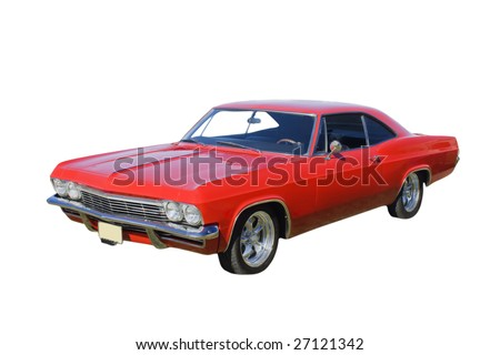 bright red American muscle car isolated on white