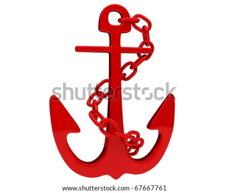 bright red anchor with a chain isolated on white background