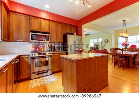 Bright Red And Brown Kitchen Stock Photo 89986567