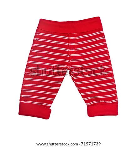 Bright red baby trousers isolated on white