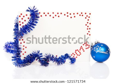 Bright red card on New Year 2013 with blue tinsel and blue ball isolated on white